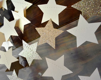 Twinkle, Twinkle Champagne Glittery, Shimmering Star Garland Baby Shower, Photo Prop, 1st Birthday Decor, Classroom Decor, Etc