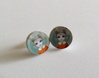 Creepy Girl Earrings - Weird Earrings - Unique Earrings - Gift for her -  Gift -  Scary -  Post Earrings - Stocking Stuffer