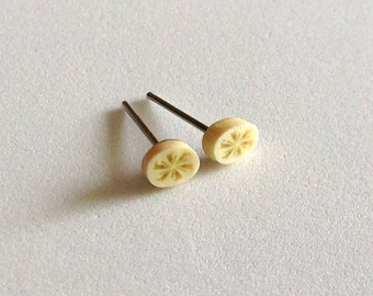 Banana Slice Tiny Post Earrings - Fruit Slice Earrings - Trendy Jewelry - Summer - Bridal Party Jewelry - Gift - Under 5 dollars - Kawaii