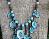 Blue Limpet Seashell Necklace with Amazonite Gold Coral and Copper Natural Shells Beach Wedding Jewelry
