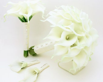 Real Touch Calla Lily Bridal & Bridesmaid Bouquets White Real Touch Calla Lilies Groom Groomsmen Boutonnieres