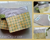 20 inch / 6 pockets Purse / Bag Organizer Insert - (small) Grey Leaves and dots print fabric