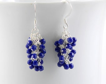 Navy Blue Dangle Earrings with Silver Ear Wires, Sterling Silver or Surgical Steel