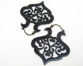 Black copper earrings with scrolling arabesque pattern sterling silver hooks