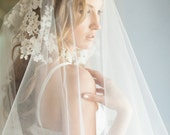 Poppy Veil, Drop Veil, Ivory Lace Appliques Veil, Chapel Veil, Bridal Veil, Cathedral Veil, Bridal Wedding Veil, Drop Lace Appliques Veil