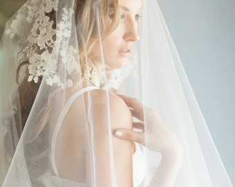 Drop Veil, Ivory Lace Appliques Veil, Chapel Veil, Bridal Veil, Cathedral Veil, Bridal Wedding Veil, Drop Lace Appliques Veil, Poppy veil
