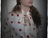 Vintage Ascot Blouse in Red White Polka Dot Sexy Secretary Blouse Pussy Bow by Shapely Hipster Nerd  (4401-W)