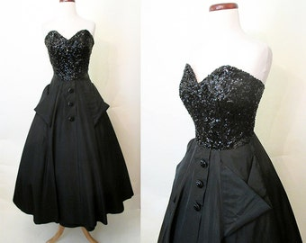 "Dazzling 1950s Designer Black Sequin Tafetta Strapless Cocktail New Look Party Dress by ""Jack Herzog"" Rockabilly VLV Betty Davis Size-Medium"