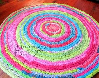 "rag rug ""braided"" crochet  - nursery, kids room, coastal beach vibe - hot pink, lime green, custom 48""  vintage look"