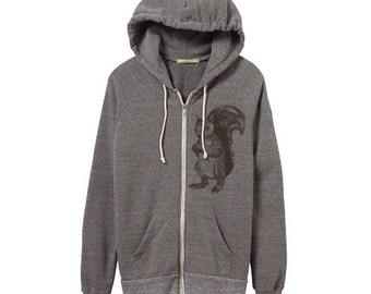Squirrel Hoodie - Heather Grey Zip Hoodie - Small, Medium, Large, XL - Eco Friendly Clothing