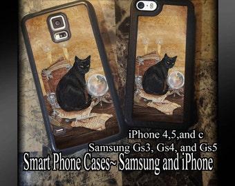 Smart Phone iPhone or Samsung Case Magical Black Cat Art