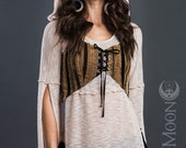 FINAL SALE Last One: The Reversible Woodland Faerie Striped Vest by Opal Moon Designs (Size S)