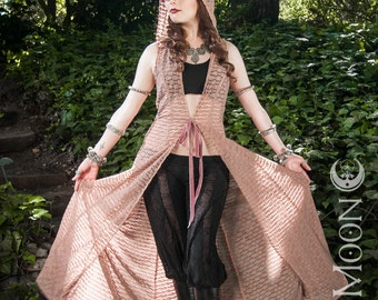 """The """"Desert Duster"""" Long Vest with Hood in Blush Mesh Texture by Opal Moon Designs (sizes S-XL)"""