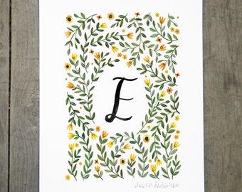 Monogram Letter E floral art print