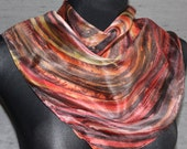 """Magic hand painted silk scarf """"Wishing Spiral"""" 22"""" x 22"""" red, orange, burgundy, black, brown square scarf or unframed painting/ abstract art"""