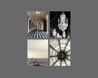 SALE, Paris Print Set, Neutral, Gray, Beige, Art Nouveau, Architecture, Bedroom Wall Art, Set of 4 Prints