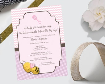 Baby Shower Invitation - Pink Chevron & Polka Dot Bumblebee - DEPOSIT