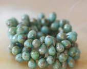 5x7mm Teardrop Beads - Jewelry Making Supply - Light Turquoise Picasso Tear Drop Beads (50 Beads)