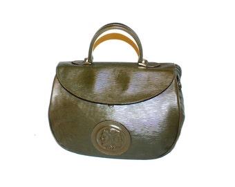 FENDI Vintage Tote Green Epi Leather Janus Medallion Handbag - AUTHENTIC -