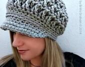 Newsboy Crochet Hat Pattern for Super Bulky yarn - The Chunksta - Crochet Pattern No.220 Digital Download