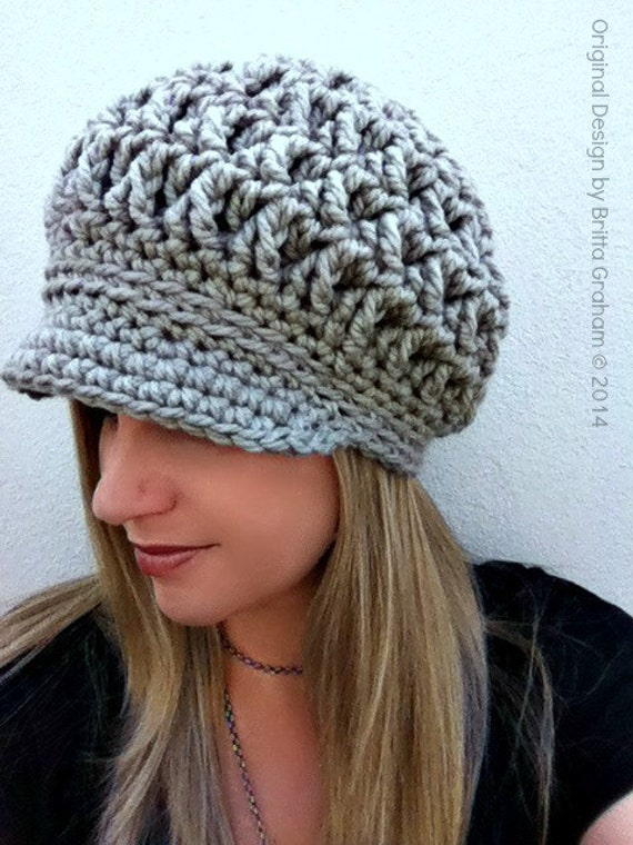 Newsboy Crochet Hat Pattern for Super Bulky yarn The