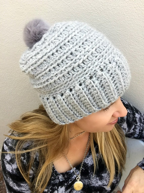 Slouchy Ribbed Beanie Pattern for chunky yarn Crochet Hat