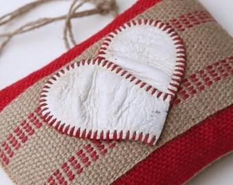 Baseball Door Hanger, Heart, Burlap, Repurposed Baseball & Jute Webbing, Shelf Sitter, Decoration, Valentines Day, Gift for Team Mom, Sports
