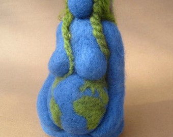 Needle felted, Mother Earth, Earth Mama, Gaia, Blue Goddess, 6 inches, Original design by Borbala Arvai, Made to order