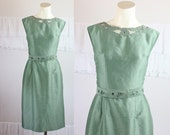c1950's Sage Worsted Wool Wiggle Dress