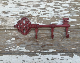 Cast Iron Wall Decor - Large Key Wall Hook - Red Distressed