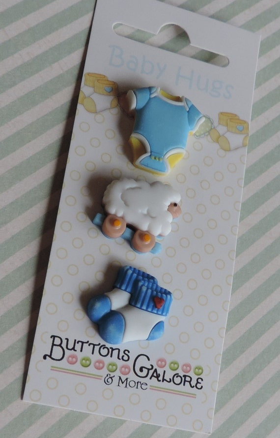 "Baby Boy Buttons, ""Sleep Tight Boy"" Baby Hugs Collection by Buttons Galore, Carded Buttons, Set of 3, Style #BH128, Shank Novelty Buttons"