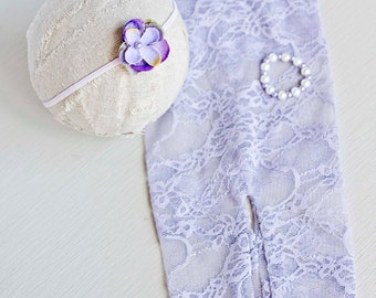 EVELYN. Lilac. pants. Leggings. Newborn. Stretch Lace Fabric. Photograpy Prop. Headband. Pearl Bracelet. Tolola Design.