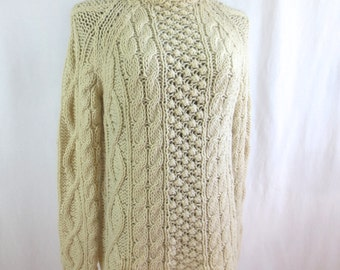 Classic Vintage Abraham & Strauss Hand Knit Wool Fisherman's Sweater - Made in Italy - sz M