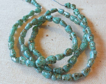 """Mottled Turquoise Glass Bead Nuggets (20"""" strand) 5mm x 7mm"""