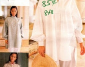 OOP Loose Long Sleeve Shirt or Coverup - Vintage Pattern Vogue Sport 8913 - Size 6 8 10 UNCUT FF Nehru Collar Poet's Shirt