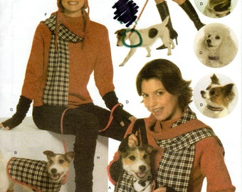 Dog Winter Accessories Pattern - Simplicity 4749 - UNCUT FF Dog Coat Boots Carrier Leash Collar