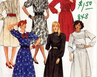 OOP 1980s Dress with Tucks - Vintage Pattern McCall's 2658 - Bust 34 UNCUT FF
