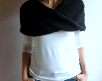 Chunky Cowl Loop Scarf Hood Shawl Neckwarmer in Black, Winter Accessories