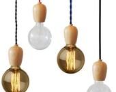 Wood pendant Lighting- Any Custom Colors Edison Lamp Modern Industrial Chandelier- Hardwired or Plug In Vintage Antique Cord