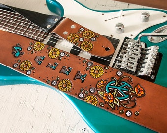 """Custom Leather Guitar Strap - Sunflowers and Peace Symbol - Adjustable 3"""" Wide - Add name, accent color, nylon color - Acoustic or Electric"""