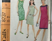 McCalls 8737 Sleeveless 1960s Dress Vintage Sewing Pattern Bust 40