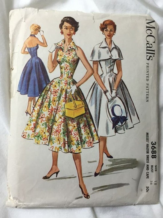 Mccalls 3688 Halter Dress 1950s Summer Dress Vintage Sewing