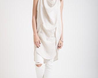 Loose Linen Tunic / Black Tunic / Casual Shirt / Short Dress / Kaftan / Extravagant Top / Knit Top / Marcellamoda - MB0160