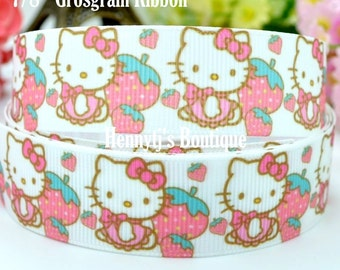 """4 yards: Hello Kitty Pink bow Dress Character Logo Brand Inspired Strawberry White Grosgrain Ribbon 7/8"""" inch wide. Gift Wrap. DIY Supplies."""