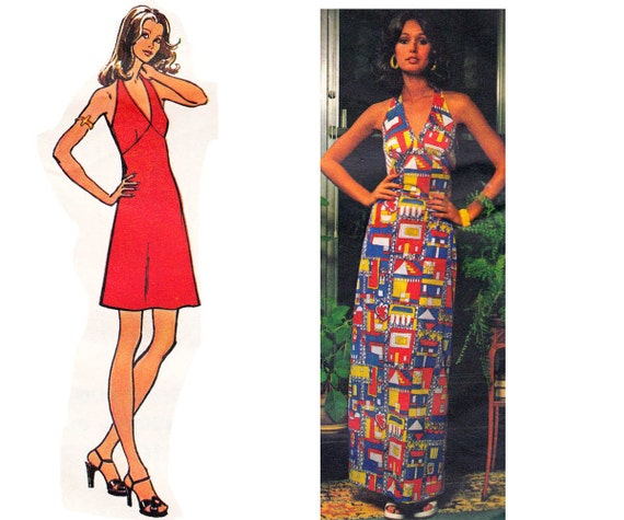 Knit Maxi Dress Pattern : 70s Stretch Knit Halter Dress Maxi Dress Pattern Simplicity