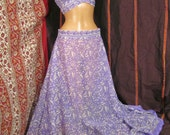 """purple sari halter and skirt your size up to 58"""" waist 36"""" long, recyled, bellydance, ATS"""