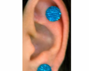 Fancy sparkly and colorful 10mm Keloid Pressure Magnetic Earring Pair.