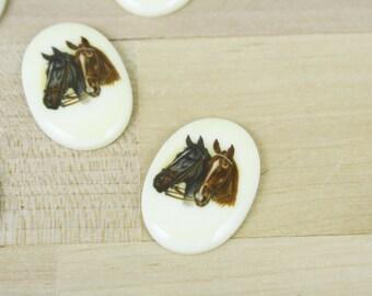 2 Vintage Horse Horses Cameo Cabochon 18x25mm [CAB7222]