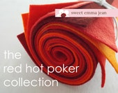 9x12 Wool Felt Sheets - The Red Hot Poker Collection - 8 Sheets of Felt