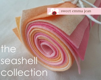 The Seashell Collection - 9x12 Wool Felt Sheets -Eight Sheets of Felt